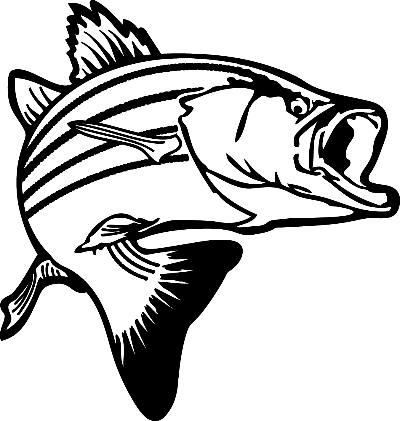 jumping bass fish black and white clipart