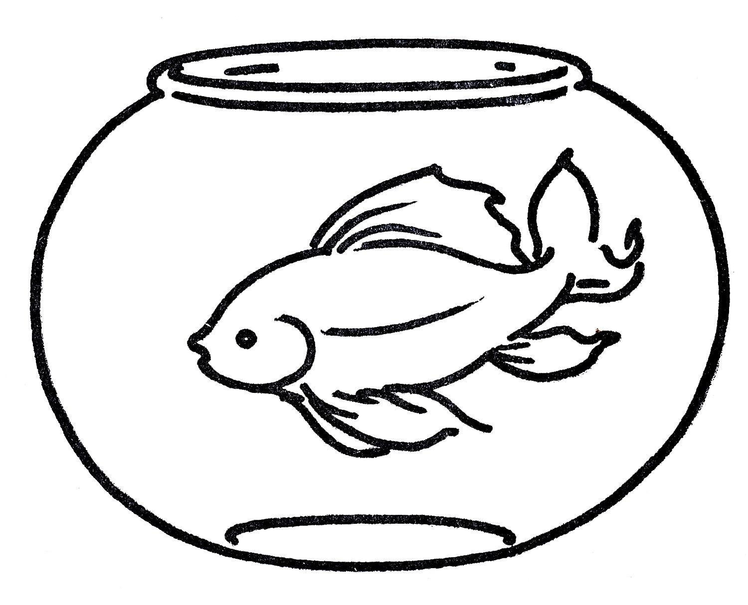 bowl fish black and white clipart