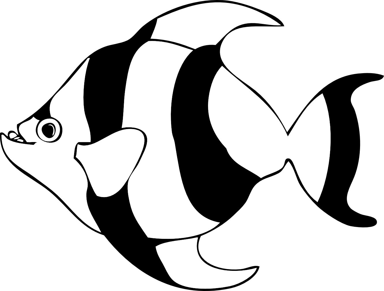 tropical fish striped black and white clipart
