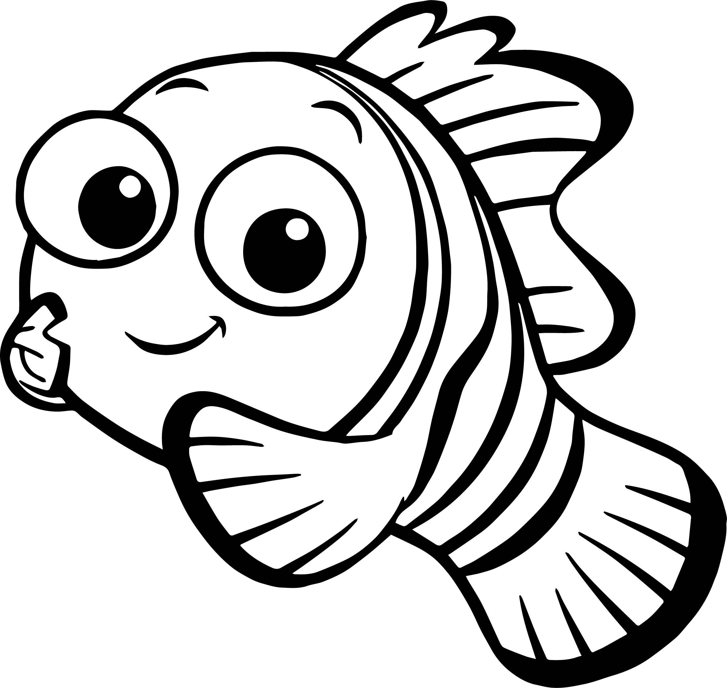 Disney Finding Nemo fish black and white clipart