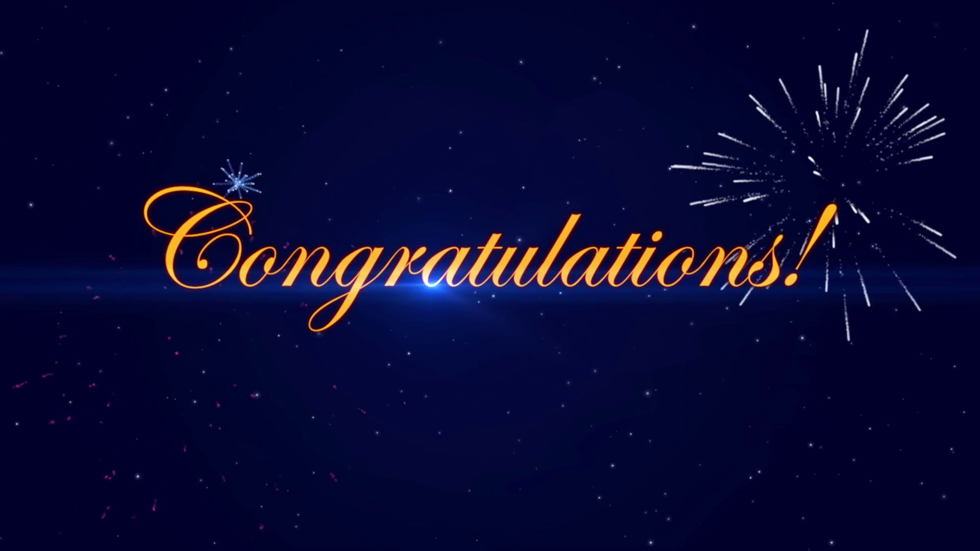 Congratulations With A Fireworks Dark Blue Background