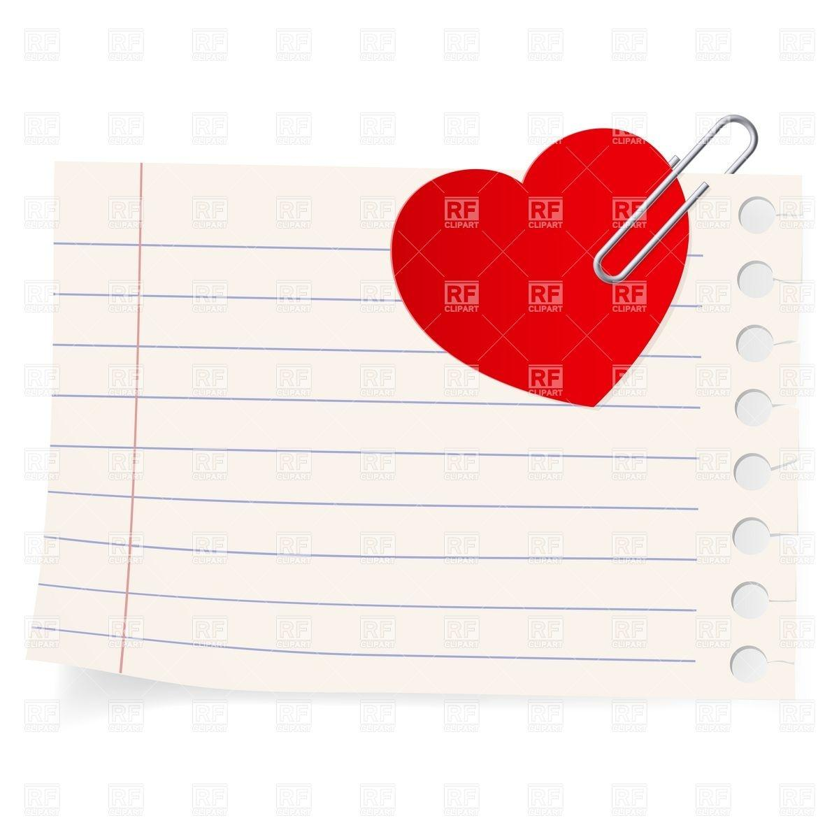 love letter exercise book sheet with attached paper heart download bFTQDJ clipart