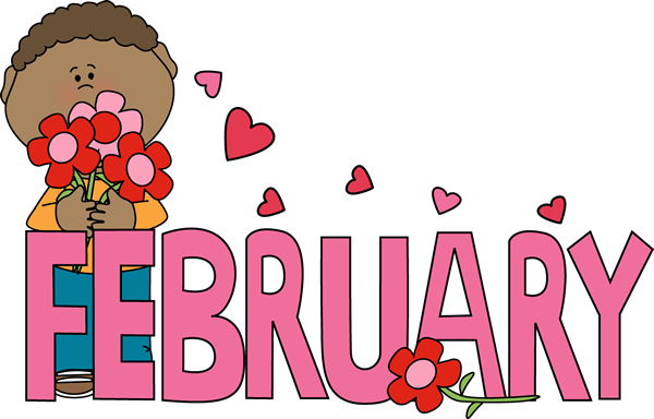 february clipart cute kid with flowers