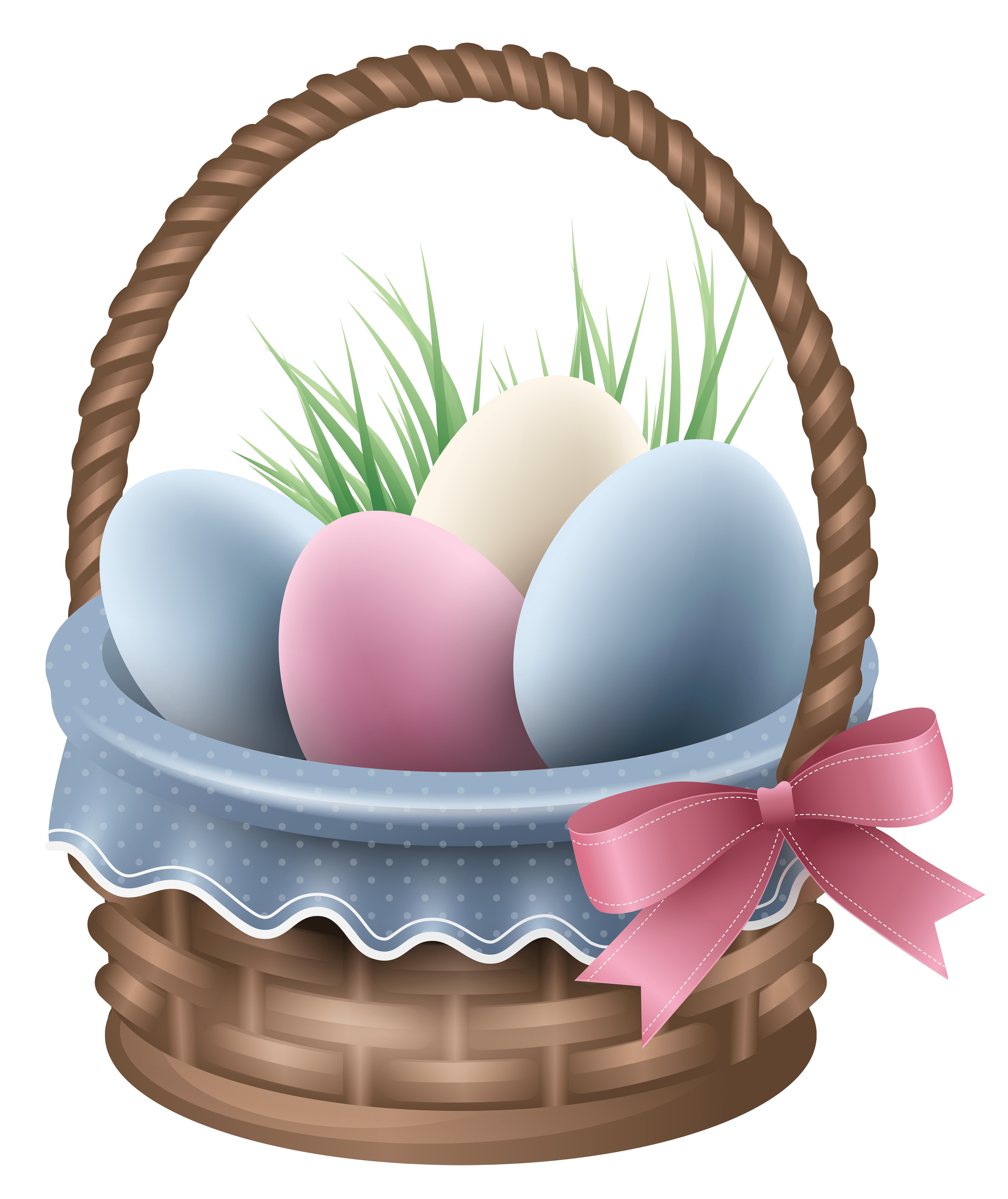 Transparent Easter Basket and Grass PNG Clipart Picture