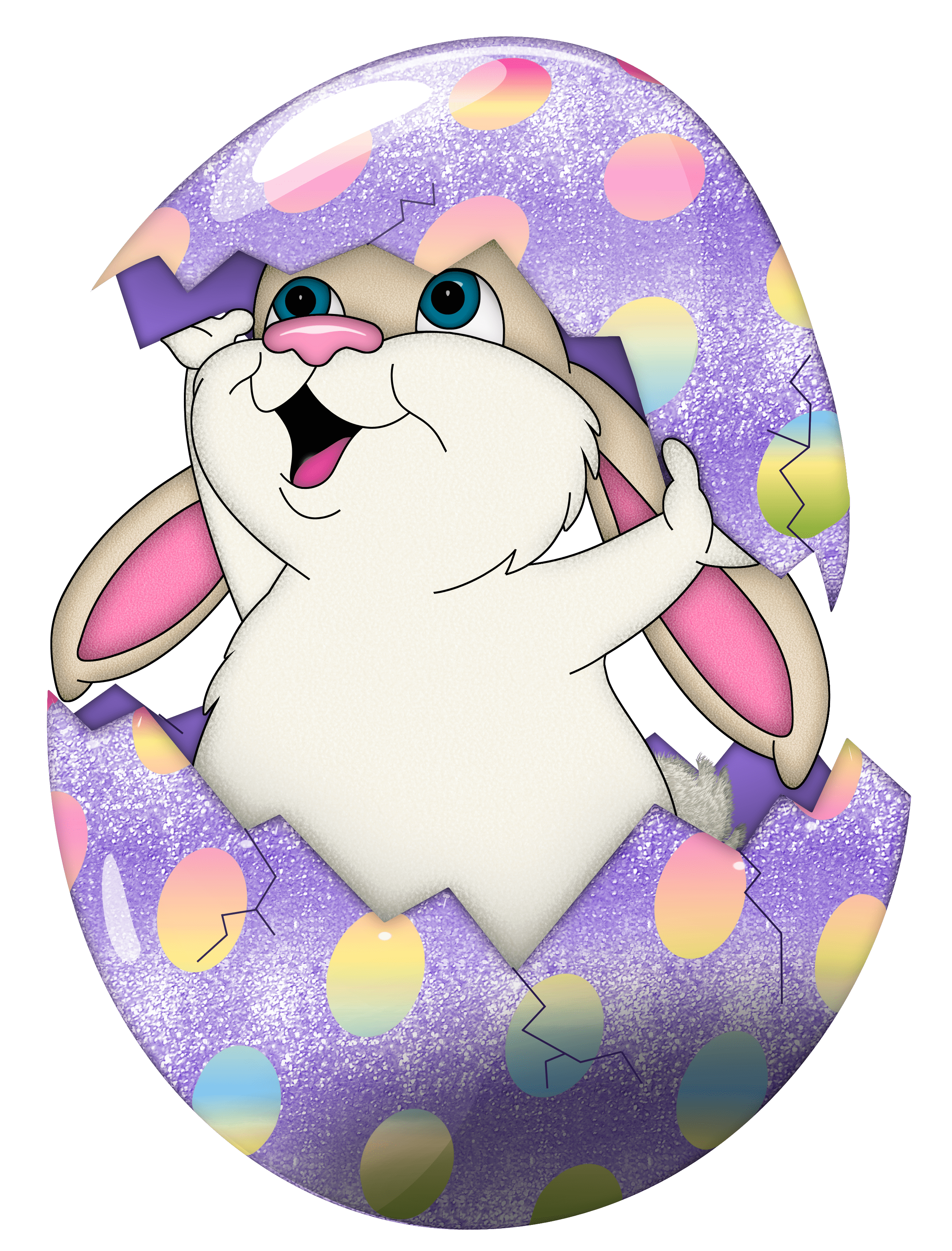Cute Purple Easter Bunny In Egg Transparent PNG Clipart