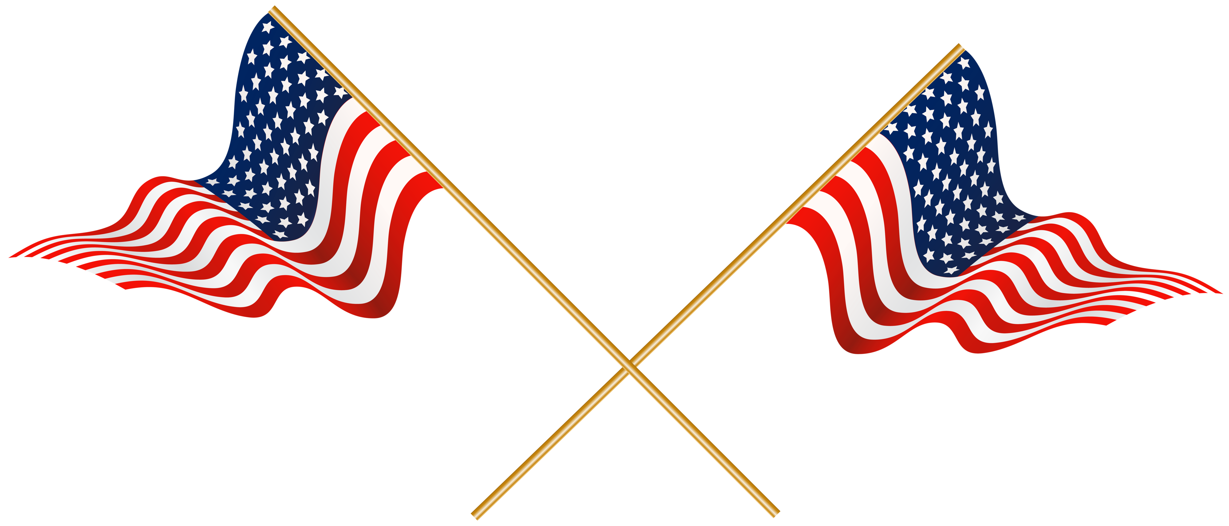 USA Crossed Flags Transparent PNG Clip Art