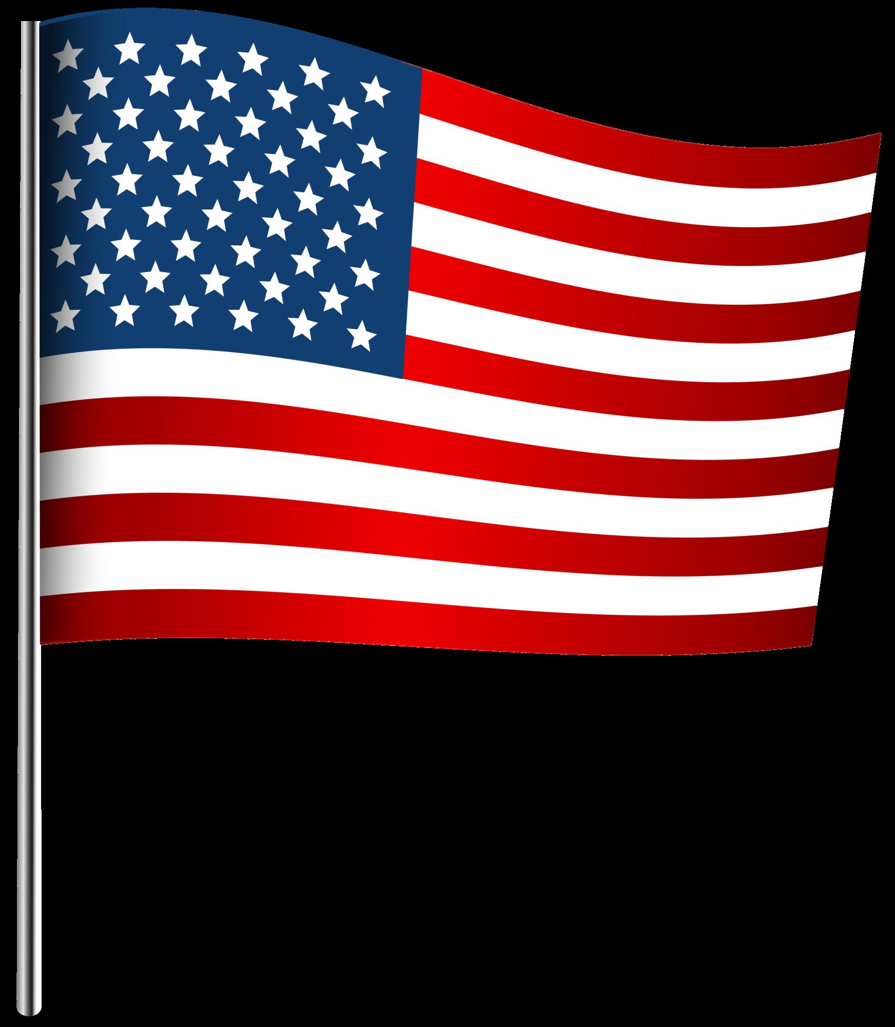 American Waving Flag PNG Clip Art Image