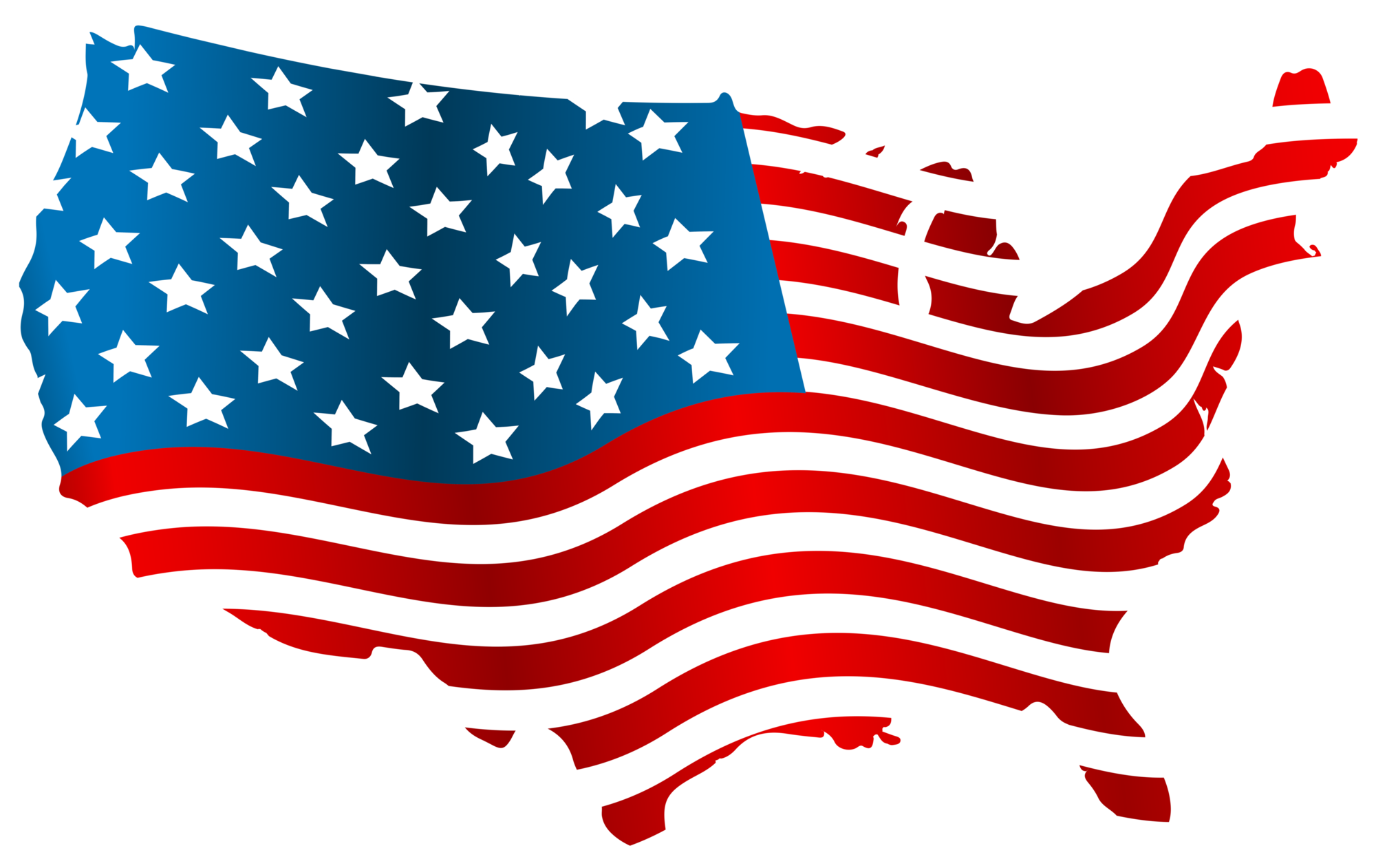 USA Flag Map PNG Clip Art Image