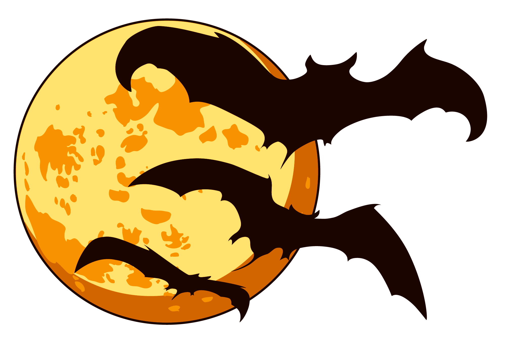 Free halloween moon bats clipart