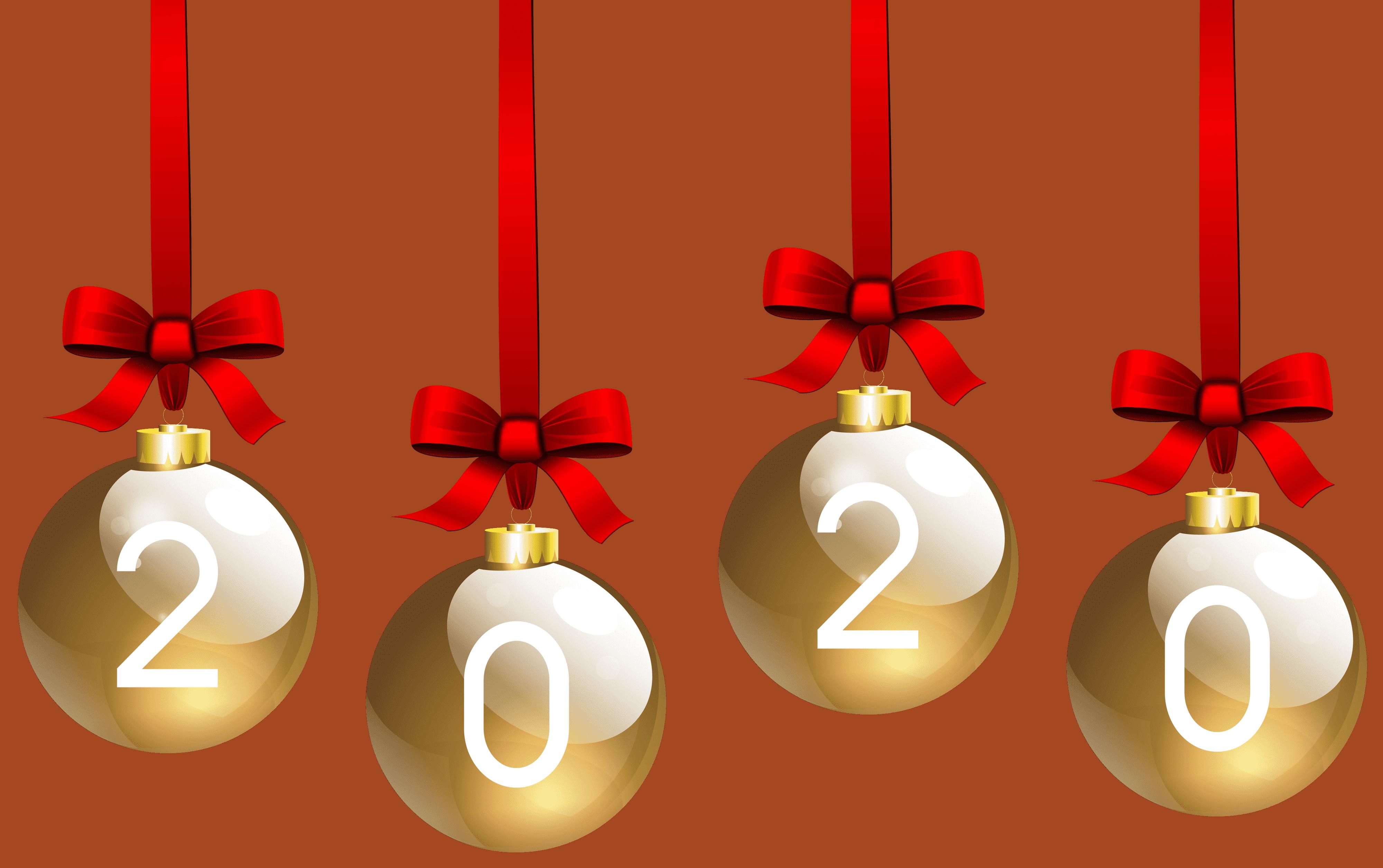 2020 Christmas Balls Transparent PNG Clip Art (4000 x 2512 Pixel)