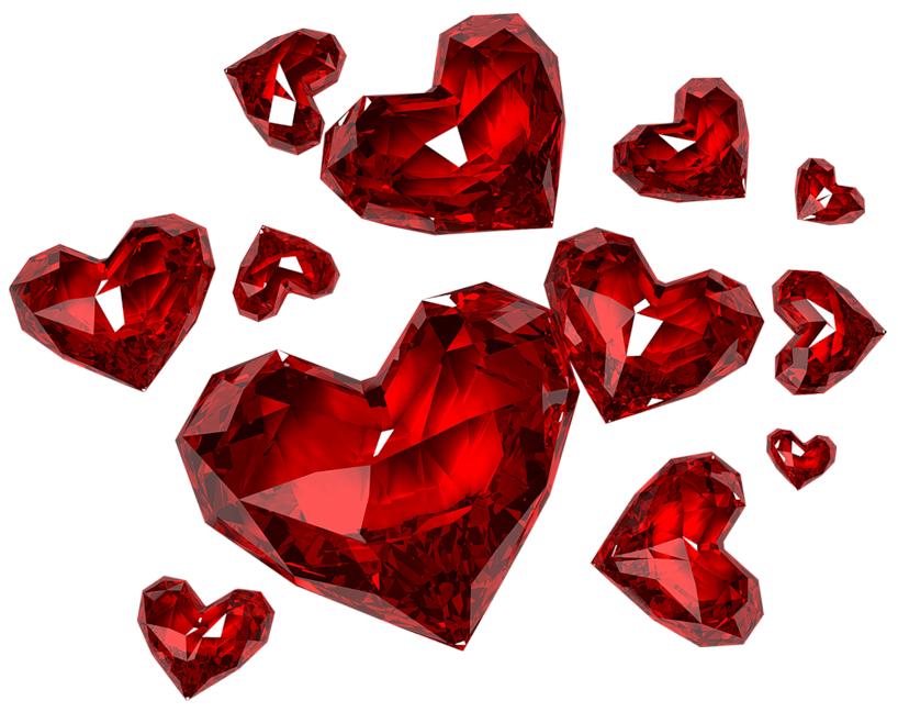 Diamond Hearts Png Clipart