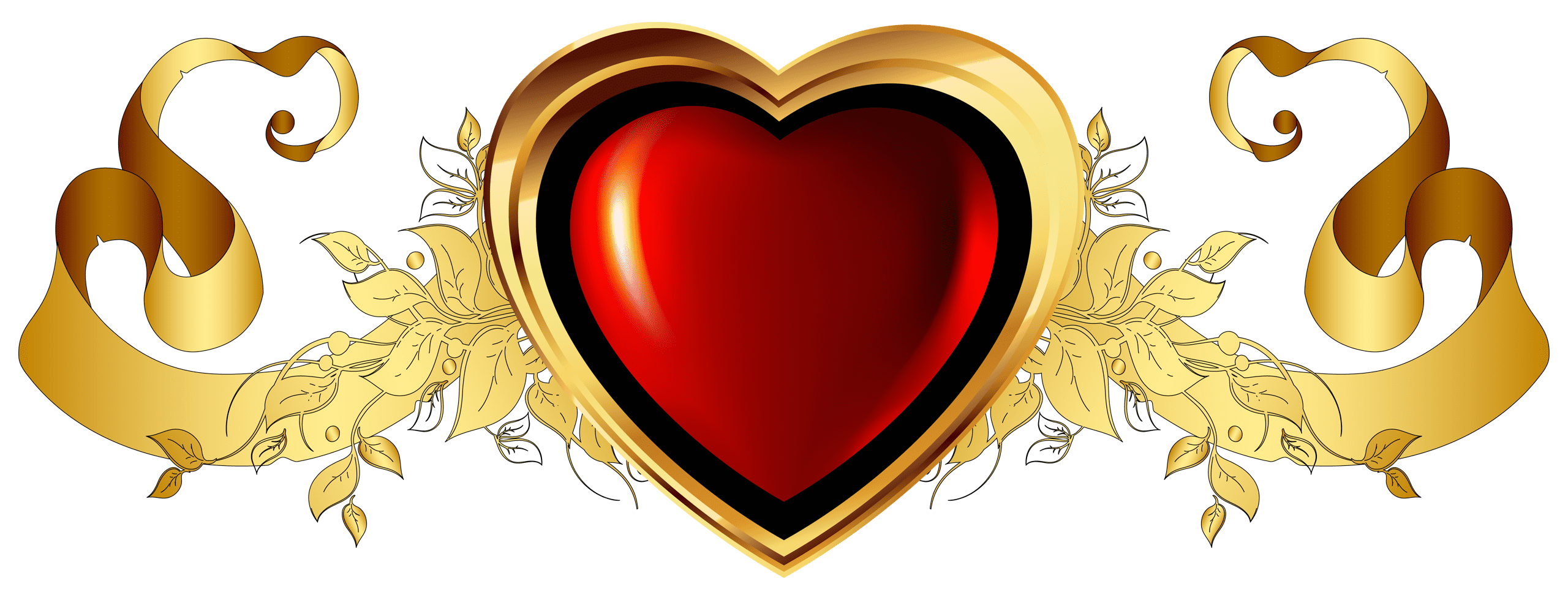 Large Red Heart with Gold Banner Element Clipart