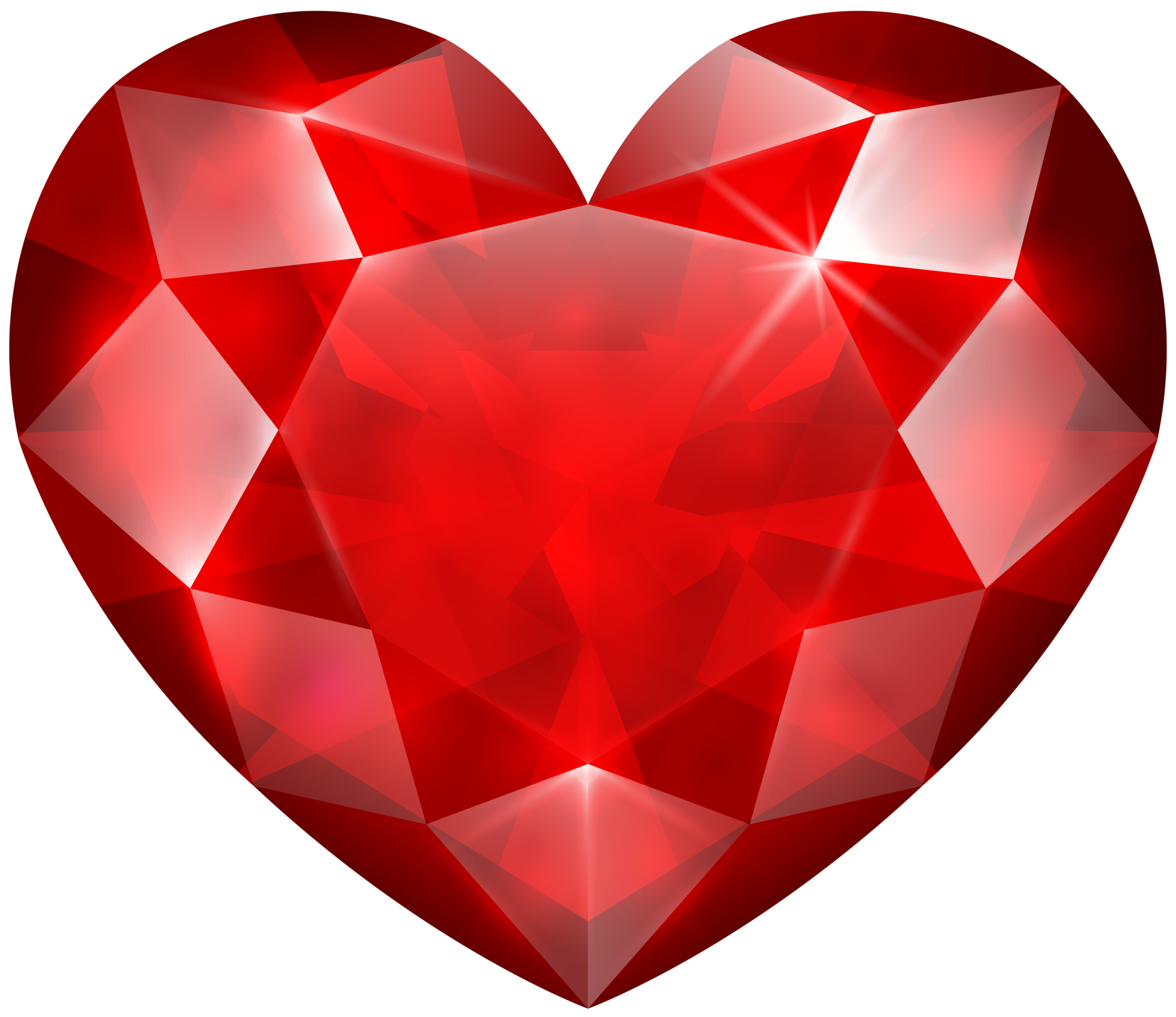 Red Crystal Heart PNG Clip Art Image