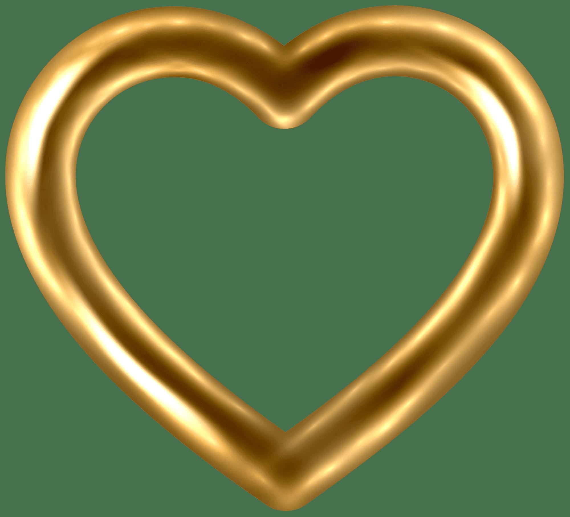 Transparent Gold Heart PNG Clip Art Image