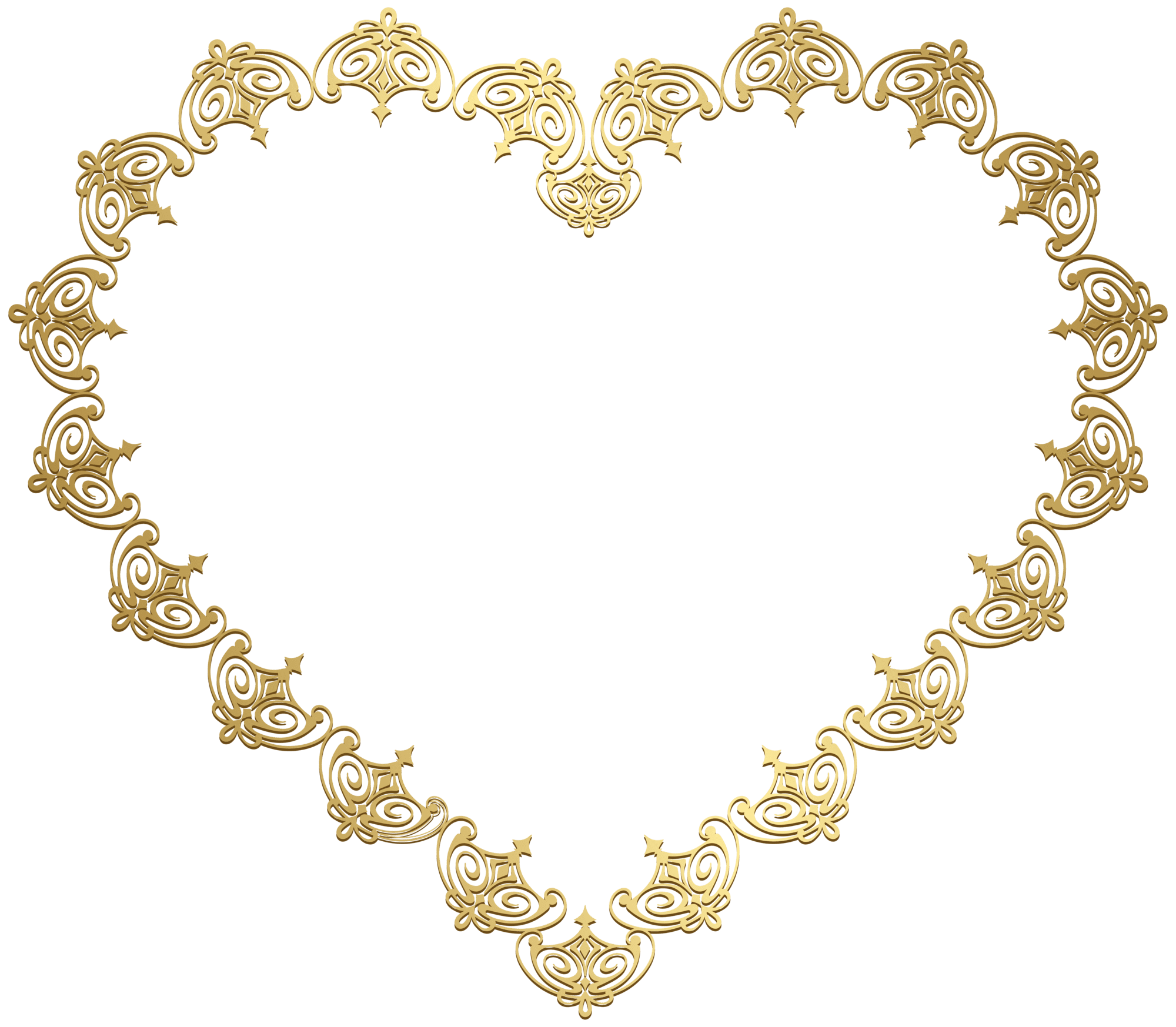Heart Gold Transparent Clip Art Image