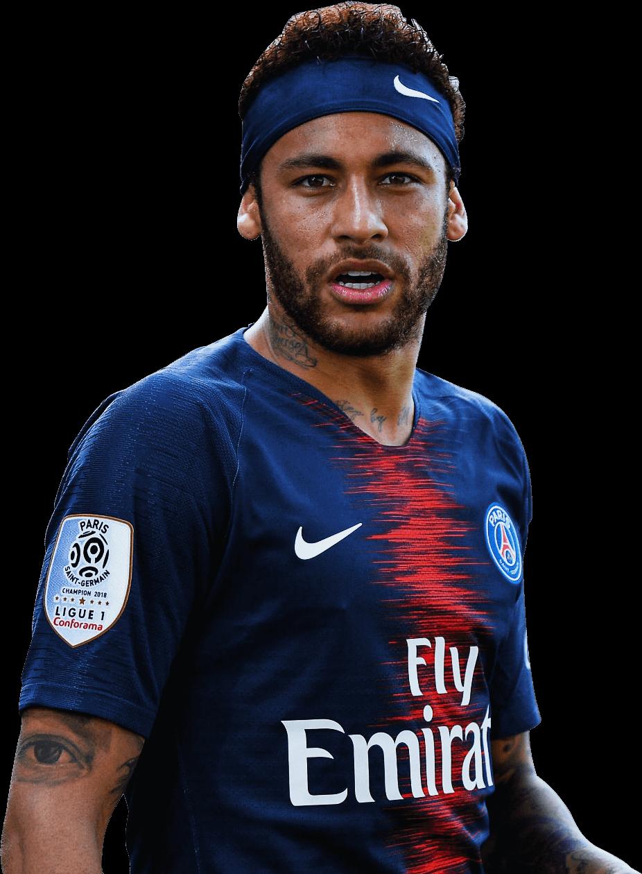 Neymar With Nike Logo Playing With PSG Team