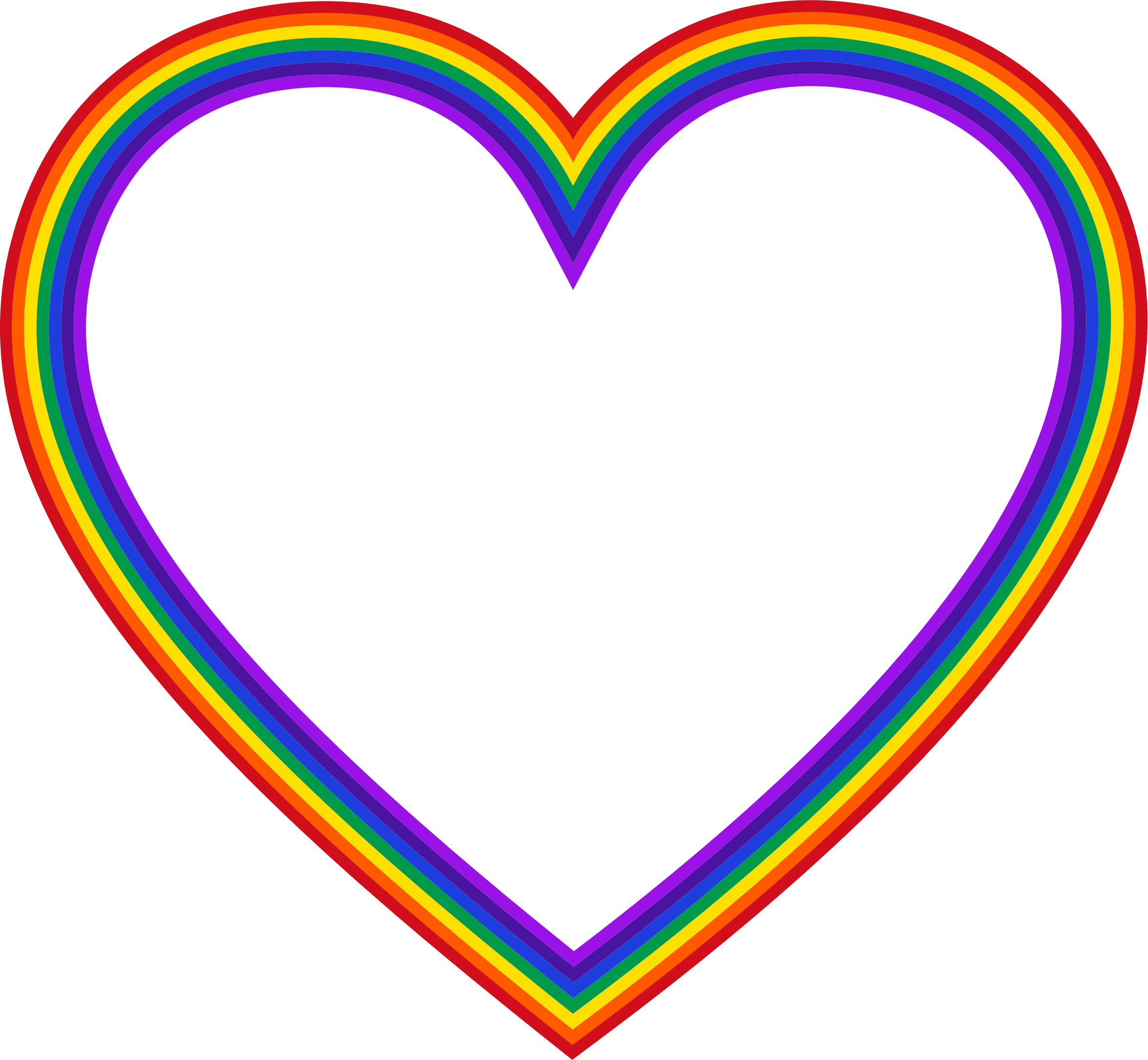 Png Rainbow Heart Frame Outline