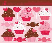 cupcake valentine s day clipart set cupcakes digital image sweet 1Q7cII clipart