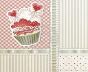 valentine s card with cupcake and hearts decorations 3YW4hX clipart
