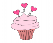 free valentine s day digital stamp cupcake with hearts free WpPID9 clipart