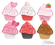 vector clip art valentine s day cupcakes WDB8u5 clipart