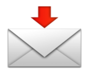 ios emoji envelope with downwards arrow above