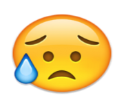 ios emoji disappointed but relieved face