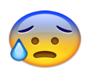 ios emoji face with open mouth and cold sweat