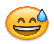 ios emoji smiling face with open mouth and cold sweat
