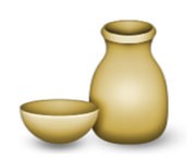 ios emoji sake bottle and cup