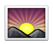 ios emoji sunrise over mountains