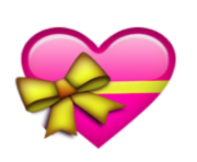 ios emoji heart with ribbon