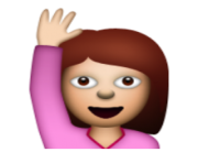 ios emoji happy person raising one hand