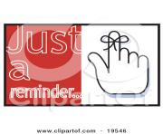 on the finger with text reading just a reminder by andy nortnik V9BLRC clipart