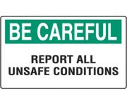 workplace safety reminder signs careful report all unsafe conditions PmMBfz clipart