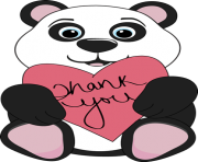 thank you panda bear holding a heart with the words thank you on R9nvrf clipart