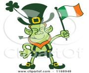 cartoon of a st patricks day leprechaun waving an irish flag royalty 0kWsOT clipart