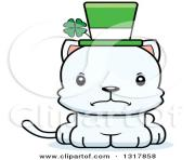 cartoon cute happy irish st patricks day white kitten cat by cory XTdesr clipart