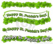 of st patrick s day logos and banners with bright green clovers s7CCyI clipart