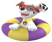 marshall in a pool paw patrol clipart png