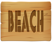 Wooden Sign Beach PNG Clip Art