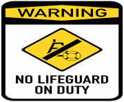 No Lifeguard on Duty Sign PNG Clip Art