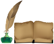 Ancient Book and Inkwell PNG ClipArt