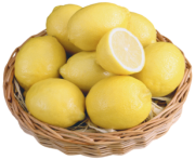 Lemons in Wicker Bowl PNG Clipart