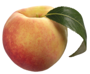 Peach with Green Leaf PNG Clipart