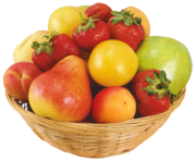 Fruits in Wicker Bowl PNG Clipart