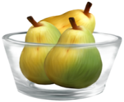 Pears in a Glass Bowl PNG Clipart