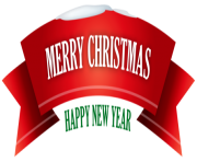 Merry Christmas Red Snowy Banner PNG Clipar