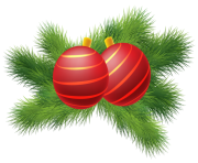 Christmas Decor with Red Christmas Balls PNG Clipa