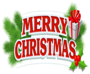 Merry Christmas Decor with Gift PNG Clipar